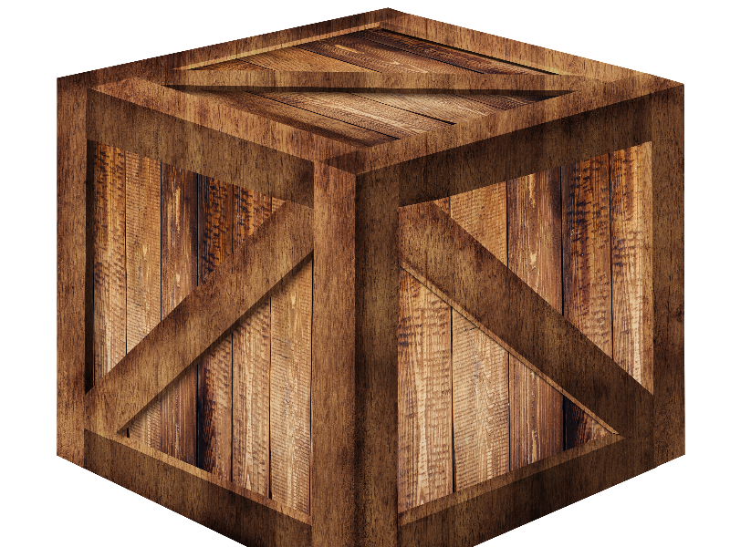 3D Wooden Box PNG Free (Isolated.