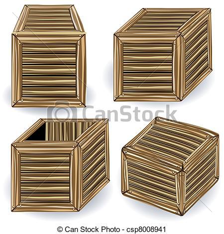 Vector Clip Art of wooden boxes.