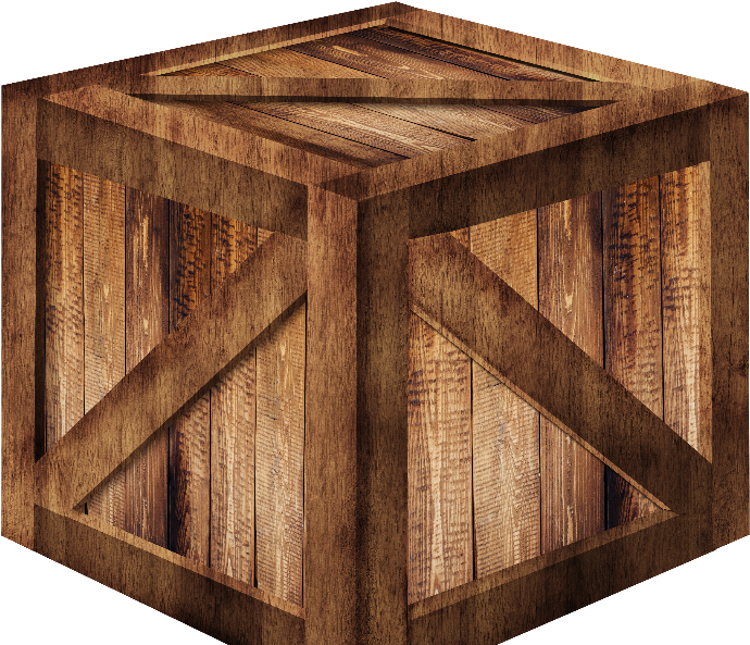 D Wooden Box Png Free Isolated.