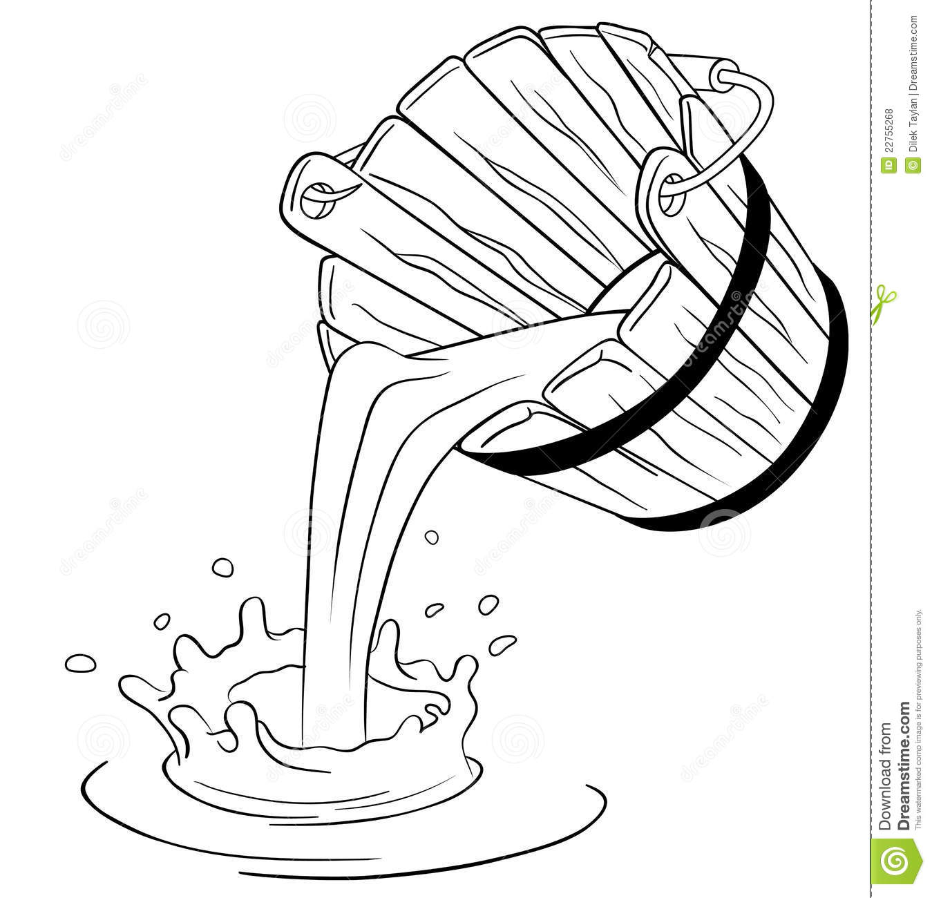 Bucket Of Water Clipart Black And White.