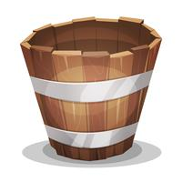 Wooden Bucket Free Vector Art.
