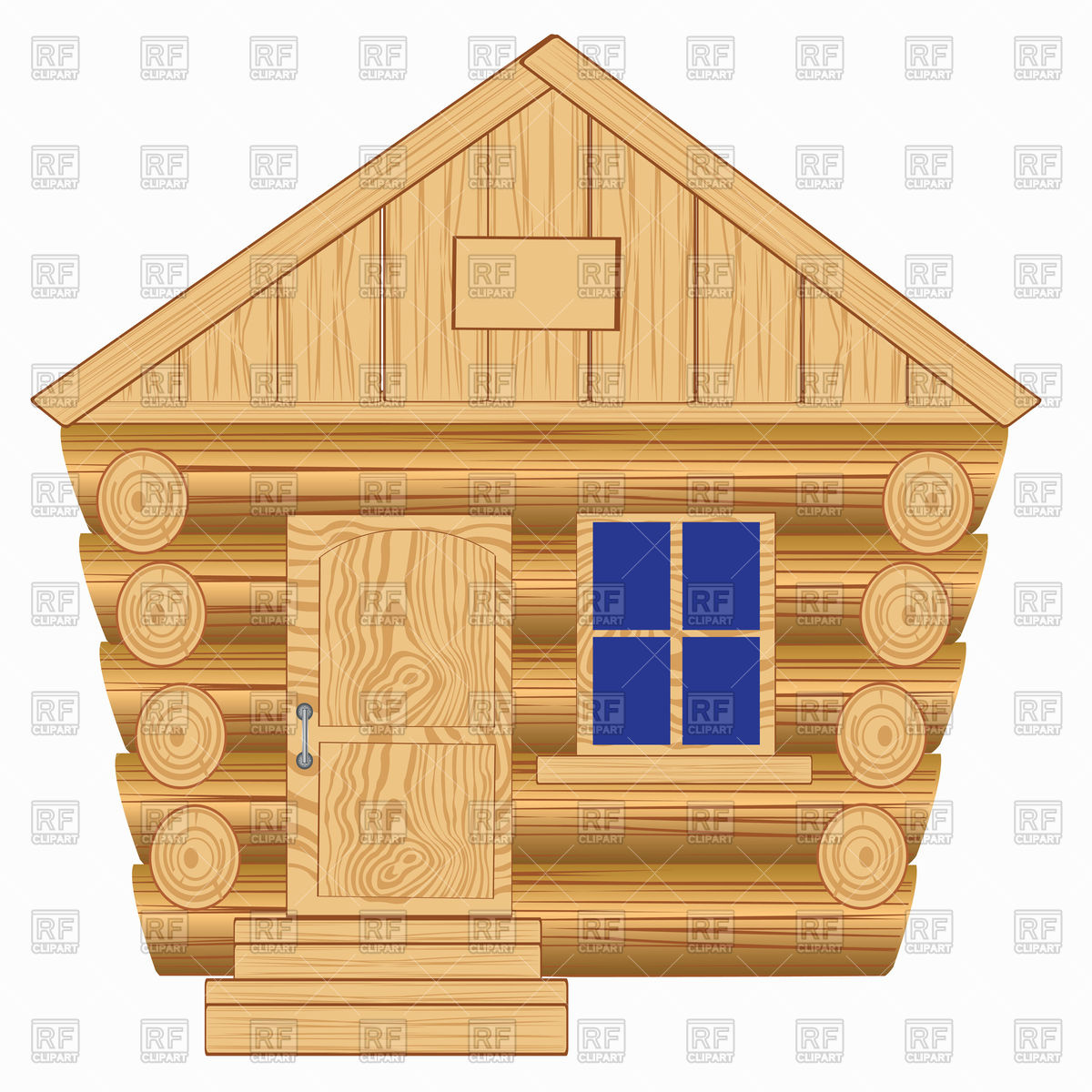Wooden house front view Vector Image #91402.
