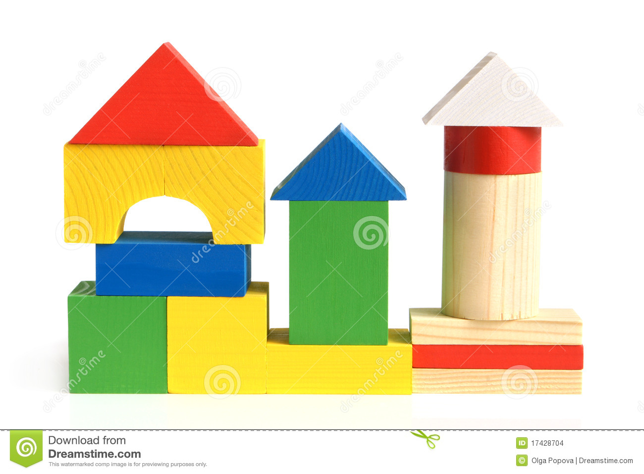 House Made From Children's Wooden Building Blocks Stock Images.