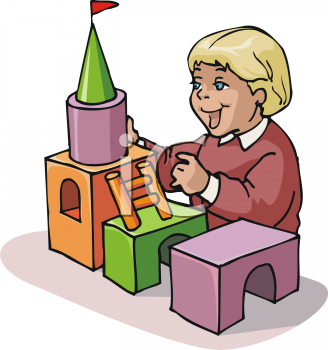 Royalty Free Clipart Image: Child Building a Castle From Wooden Blocks.