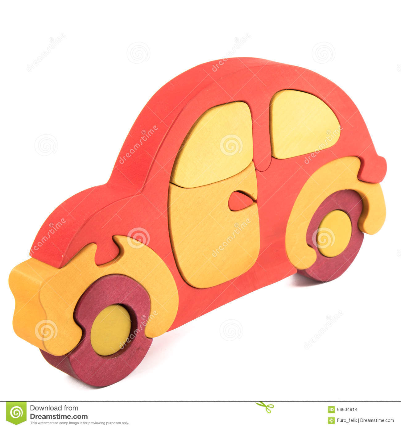 Wooden Car Puzzle Toy Stock Photo.