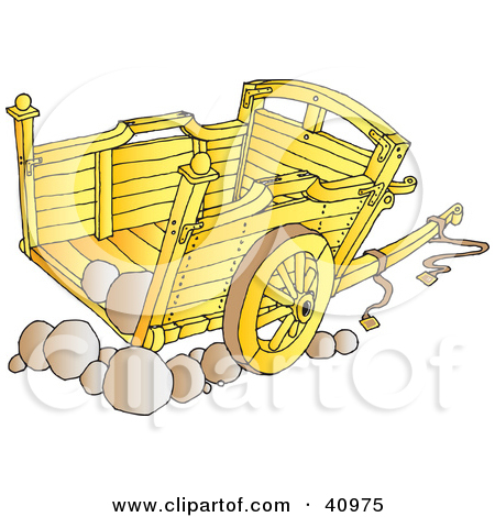 Clipart Illustration of a Wooden Cart With Stones by Snowy #40975.