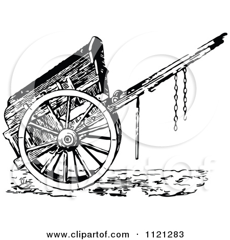 Clipart Of A Retro Vintage Black And White Wooden Cart.
