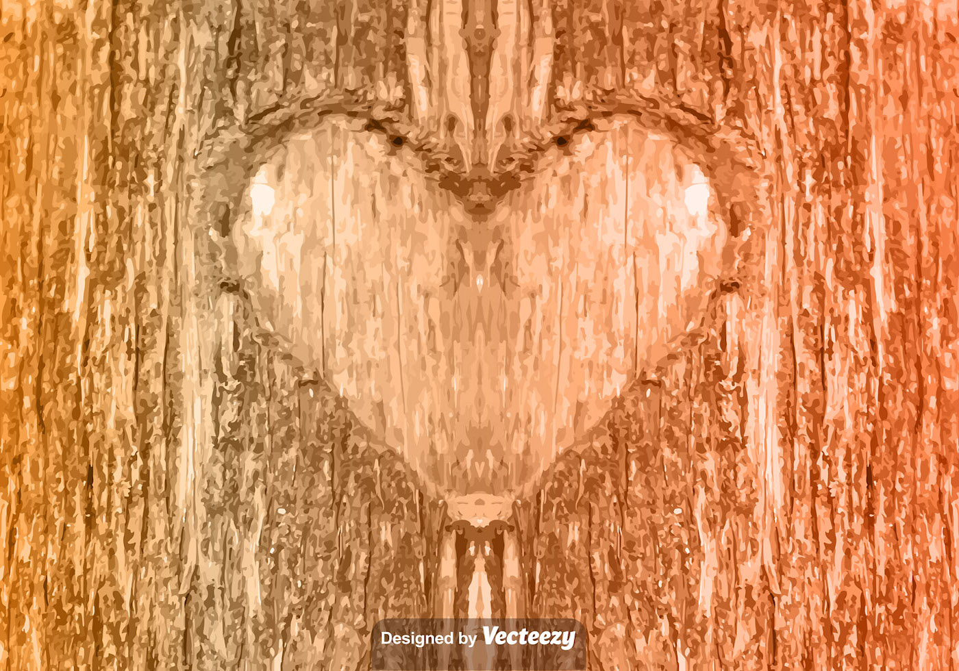 Heart Carved Tree Free Vector Art.