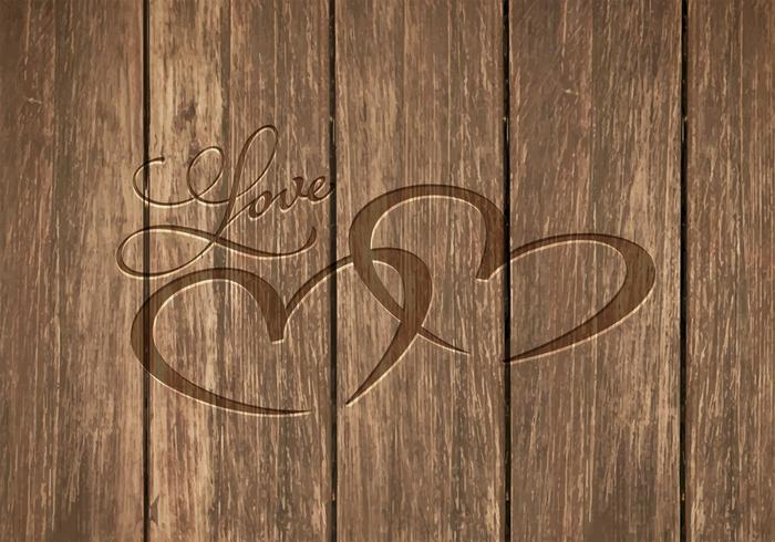 Free Heart Carved In Wood Vector Background.