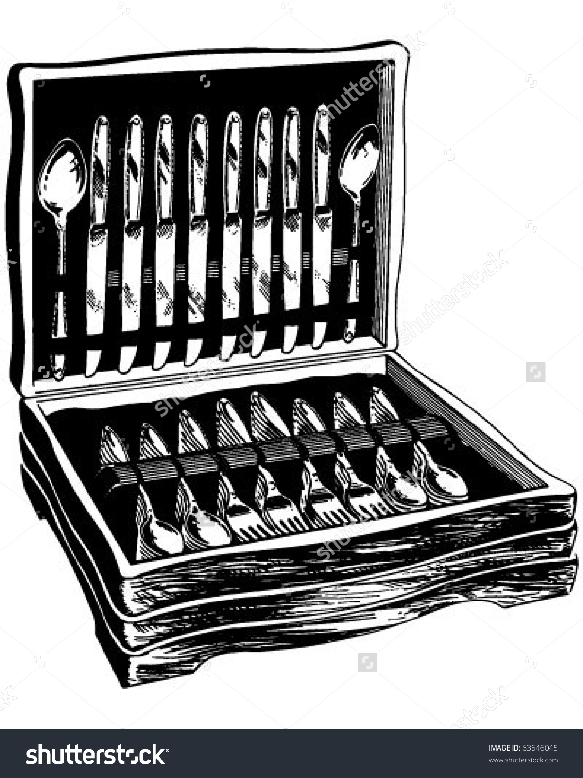 Flatware In Wooden Case.