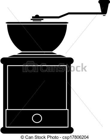 Vector Clipart of classic grinder in wooden case vector.