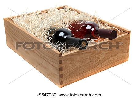 Stock Photography of two wine bottles in wooden case with wood.