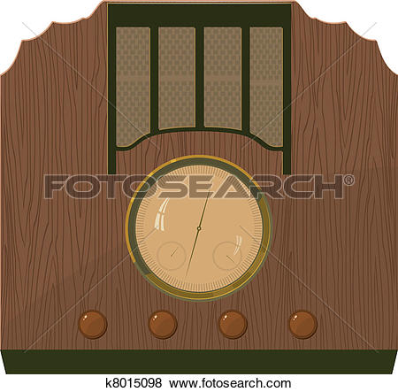 Clip Art of Vector illustration of an old radio in a wooden case.