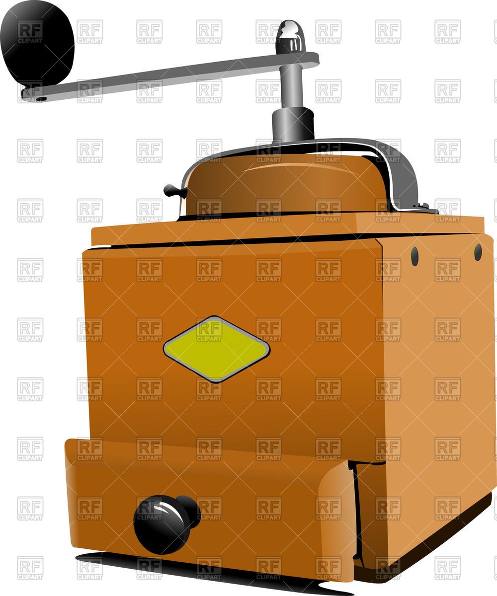 Classic manual coffee grinder in wooden case Vector Image #51814.