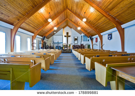 Interior Simple Church Vaulted Wooden Ceiling Stock Photo.