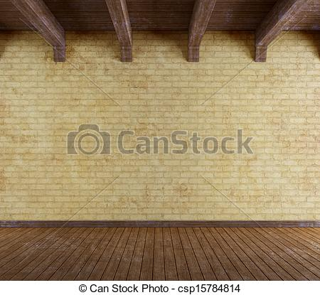 Clipart of Empty grunge room with old brick wall and wooden.