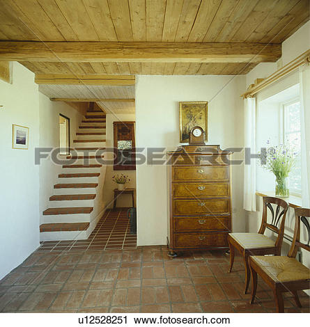 Stock Photography of wood ceiling , tile floor, interior, hall.