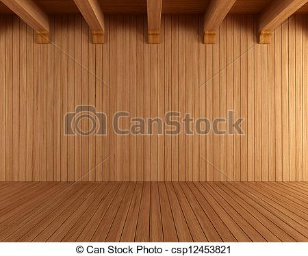 Clip Art of Empty wooden room with ceiling beams.