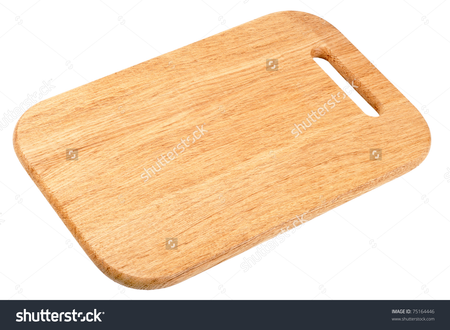 Wooden Chopping Board Isolated On White Stock Photo 75164446.