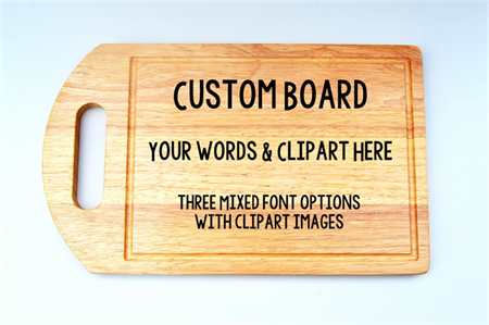 Personalised bamboo wooden cutting board, mixed fonts & clipart.