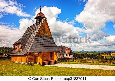 Clipart of Small wooden church near Zakopane on Gubalowka, Poland.