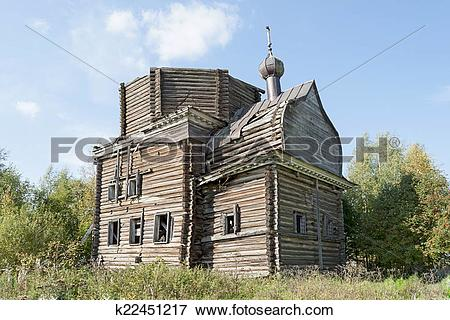 Picture of Ancient destroyed wooden church in northern russian.