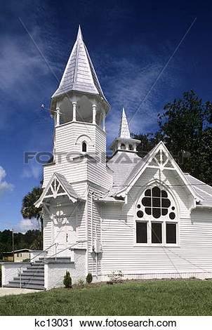 Stock Photography of white wooden church building first baptist.