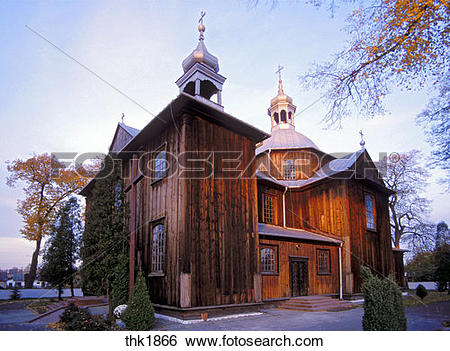 Stock Images of Picturesque wooden church of Mnichow Poland.