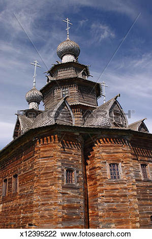 Stock Photo of Russia, Suzal, wooden church of St.Nicolus.