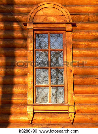 Stock Illustrations of Old wooden church window k3286790.