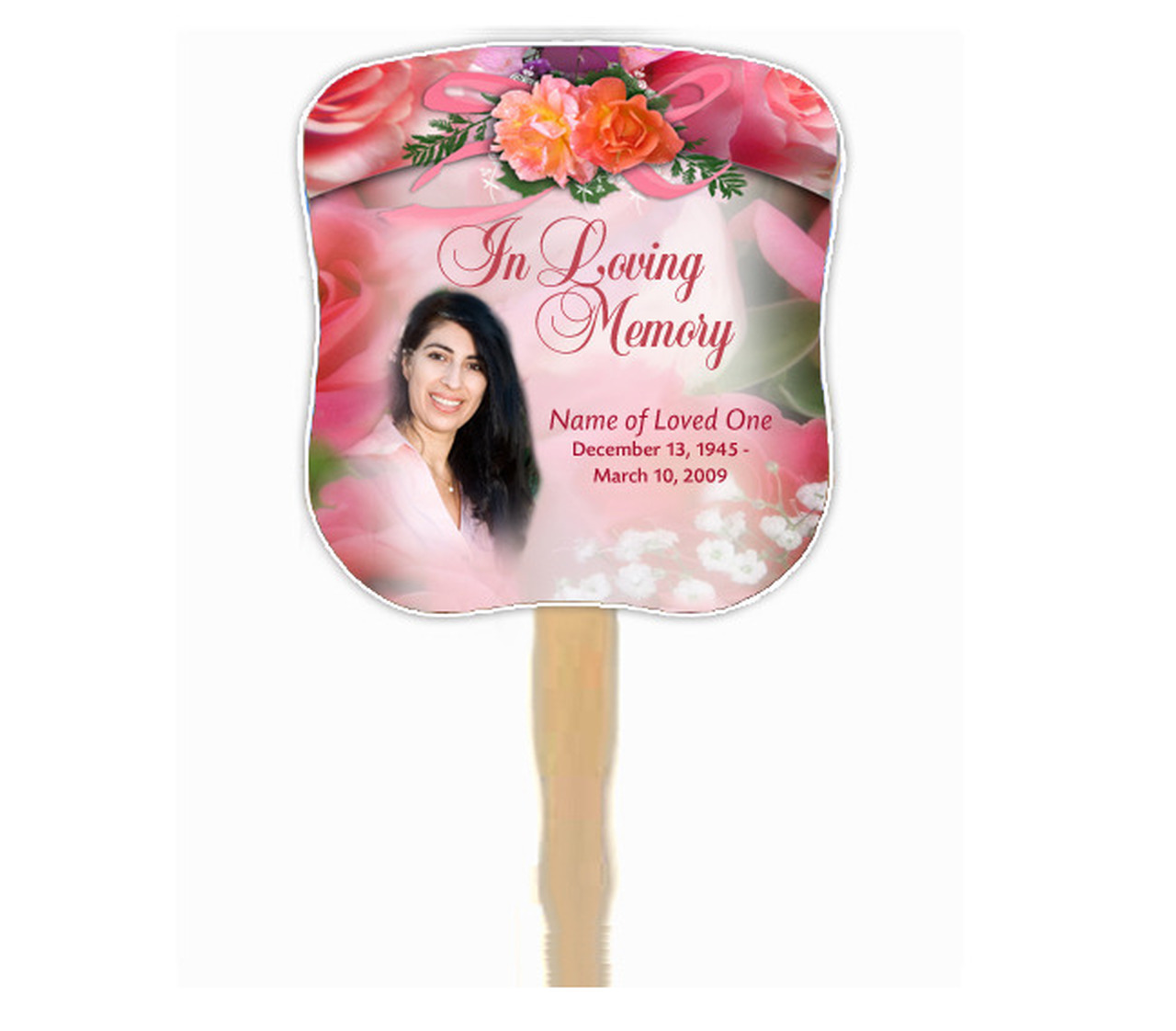Rosy Cardstock Memorial Fan With Wooden Handle (Pack of 10).
