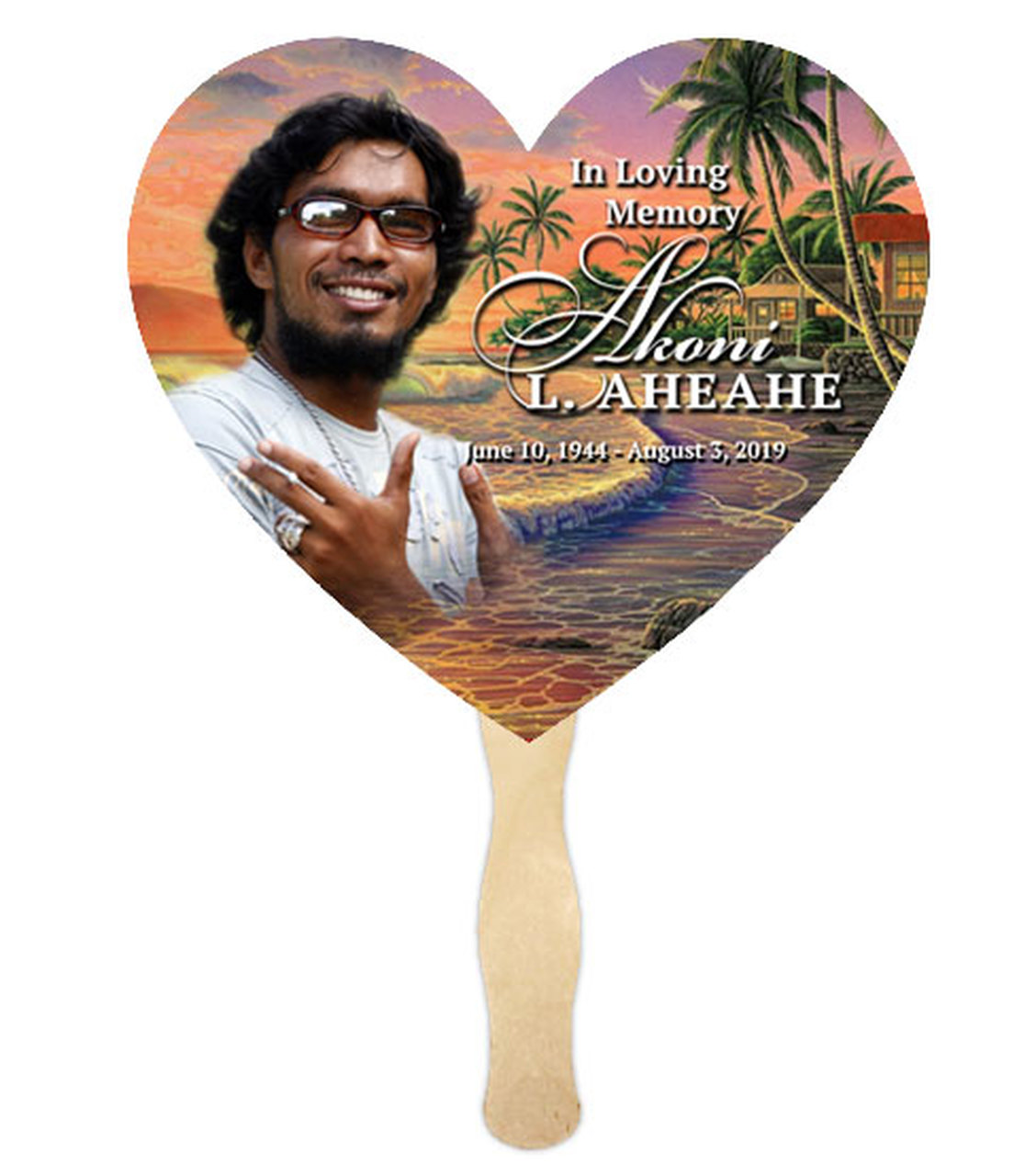 Church Fan Heart Memorial With Wooden Handle Island Dream (Pack of 10).