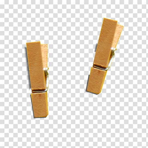 Two brown clips, Wooden clip transparent background PNG.