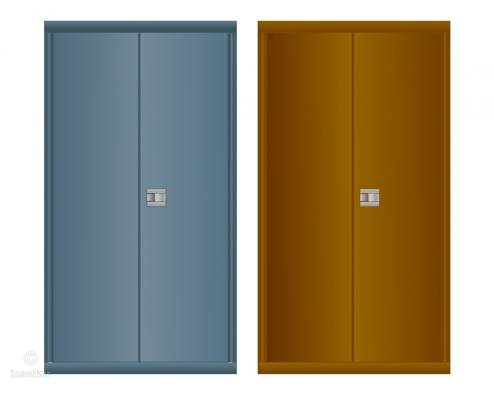 Wooden wardrobe front view vector images.