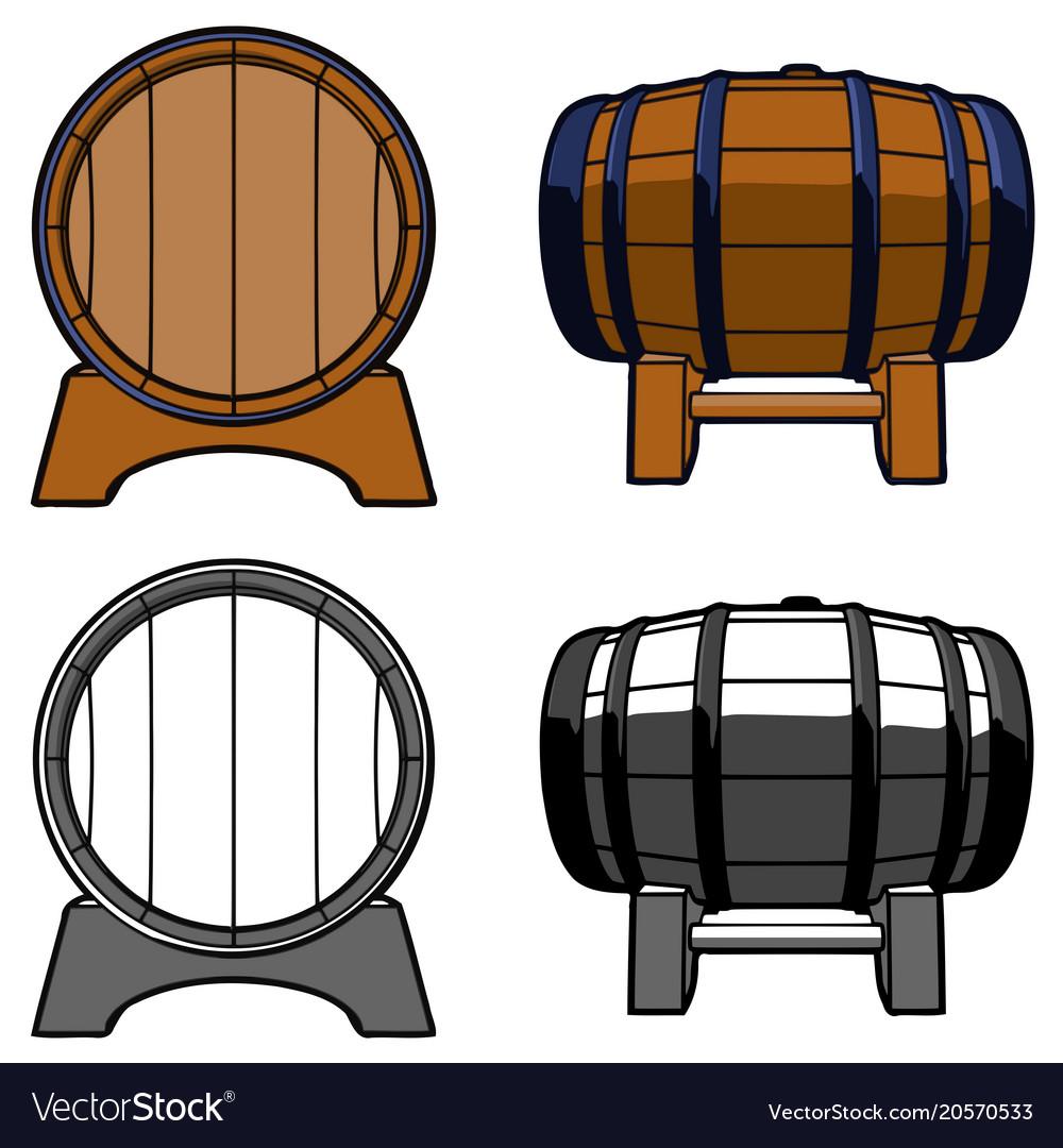 Wooden barrel set color front side.