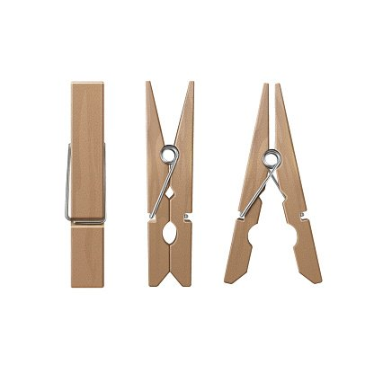 Set of Wooden Clothespins Pegs Front Side View Clipart Image.