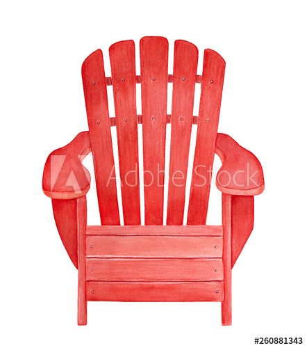 Red wooden outdoor lounge chair with armrests watercolour.