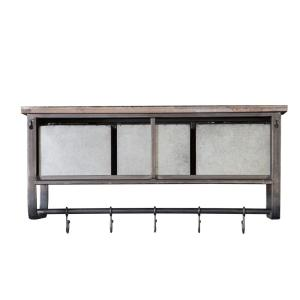 Winsome House Metal and Wood Decorative Cubby Wall Shelf.