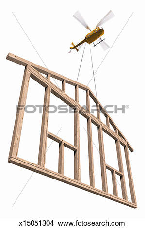 Stock Photo of Helicopter carrying wooden construction frame, low.