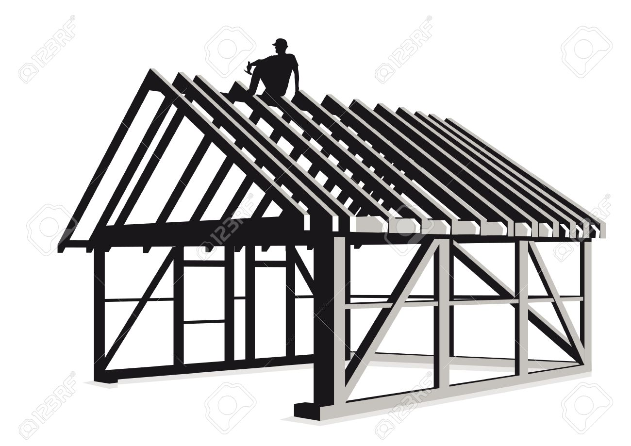 Clipart Of A Carpenter Building A House.