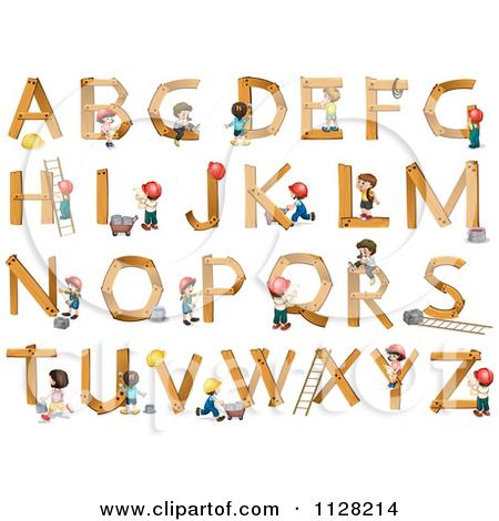 Cartoon Of Construction Children Building Wooden Letters.
