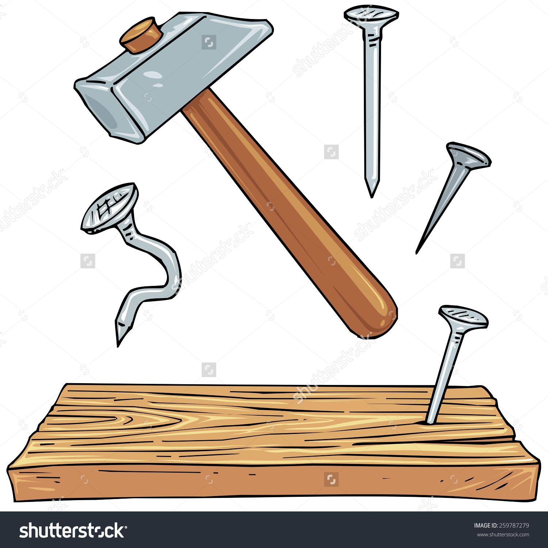 Hammer Nails Plank Wood Carpenter Tools Stock Vector 259787279.