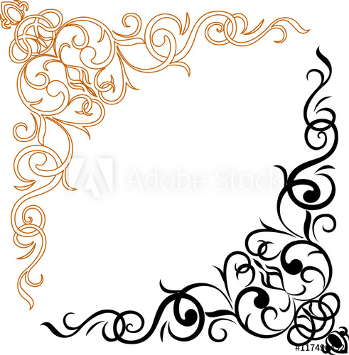 Gold photo frame with corner line floral for picture, Vector.