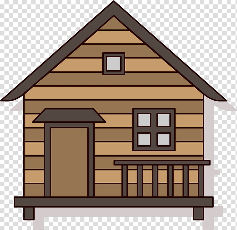 Brown wooden house illustration, Log cabin House Cartoon.