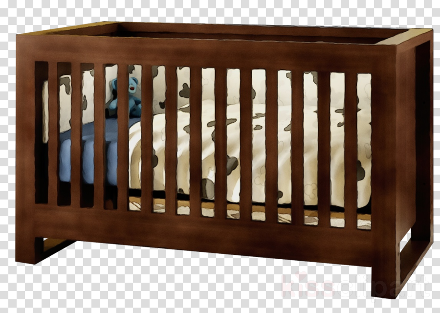 furniture infant bed cradle bed wood clipart.