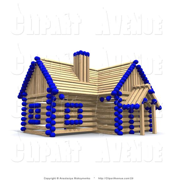 avenue clipart of a 3d red and wooden matchstick house by.