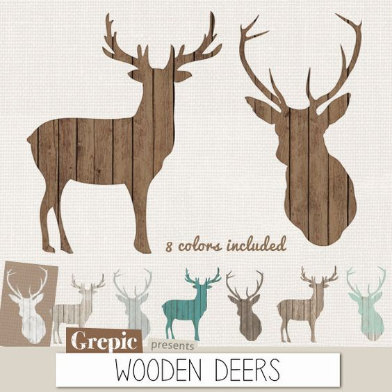 "Deer clip art: ""WOODEN DEERS"" high resolution deers in 8 different."