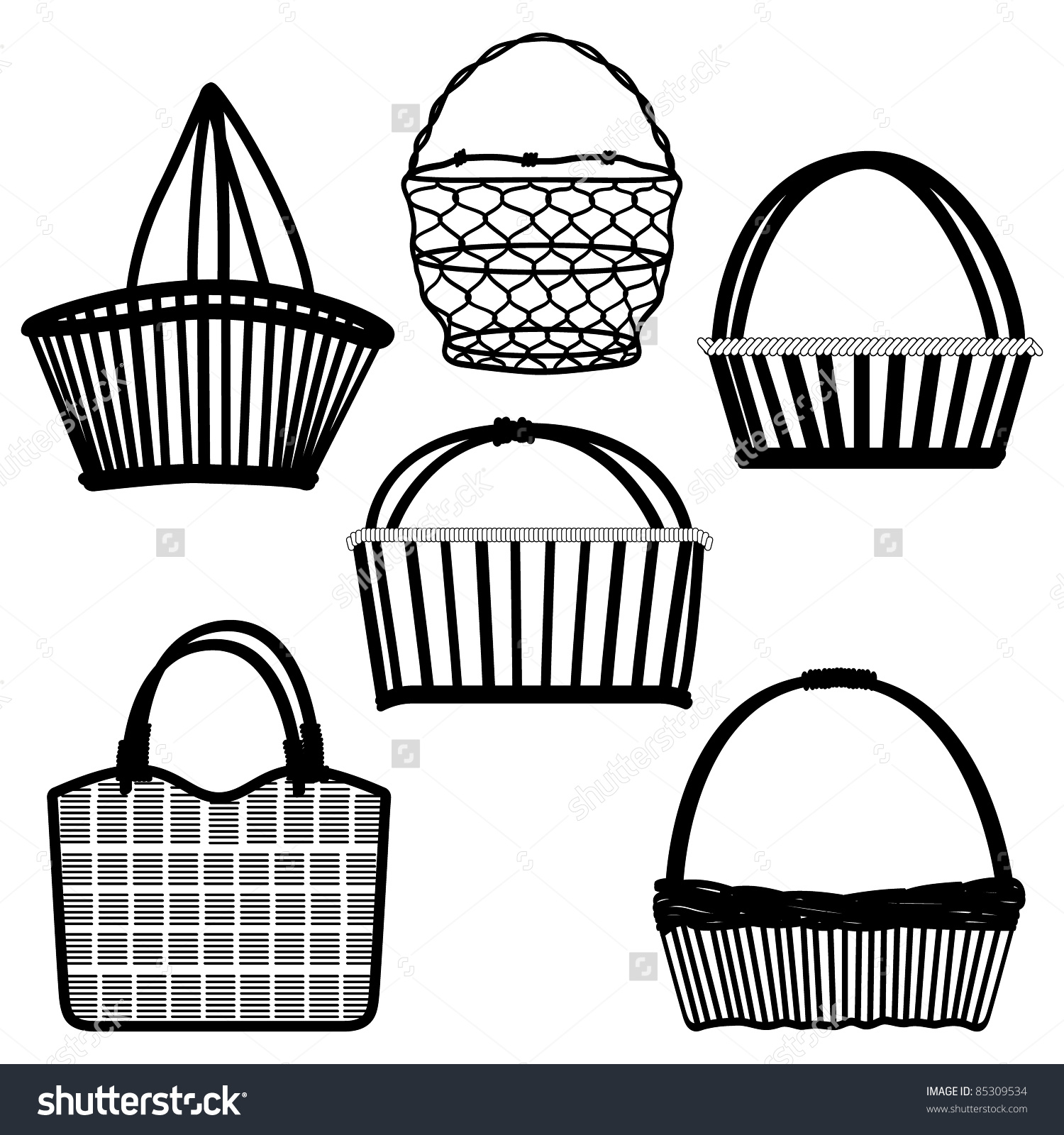 Basket Bag Container Wired Wooden Craft Stock Vector 85309534.