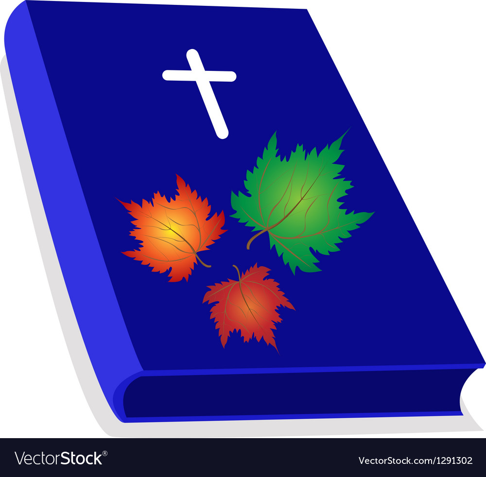 Holy Bible with Wooden Cross and Maple Leaves.