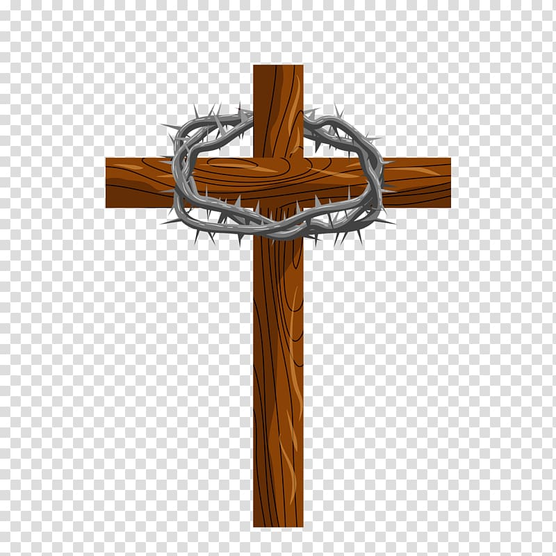 Brown cross , Crucifixion of Jesus Crown of thorns.